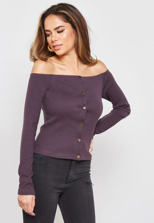 Ribbed Long Sleeve Button Detail Crop Top