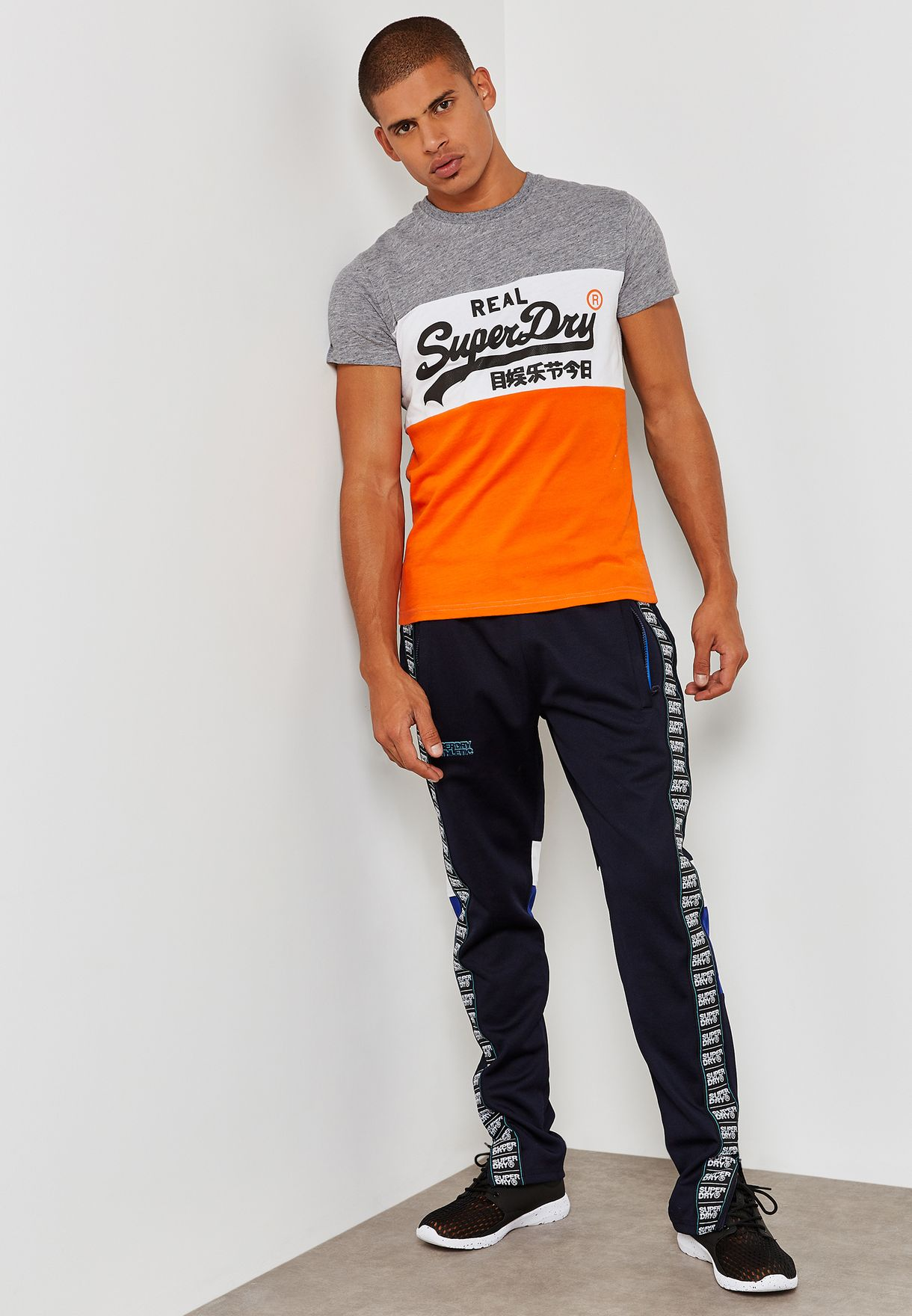 8e0ee8eba7a Shop Superdry navy Tricot Panelled Track Pants M70001SQ for Men in ...