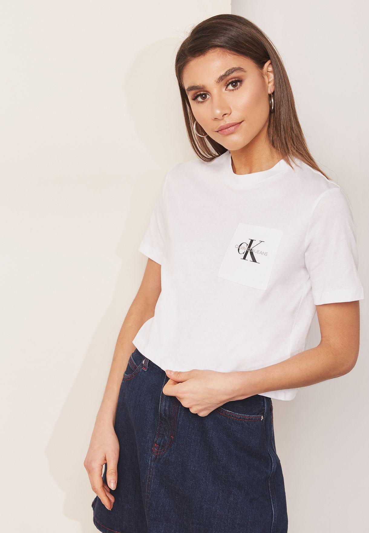 3b30eb51d5c5f5 Shop Calvin Klein Jeans white Cropped Logo T-Shirt J20J209736 for ...