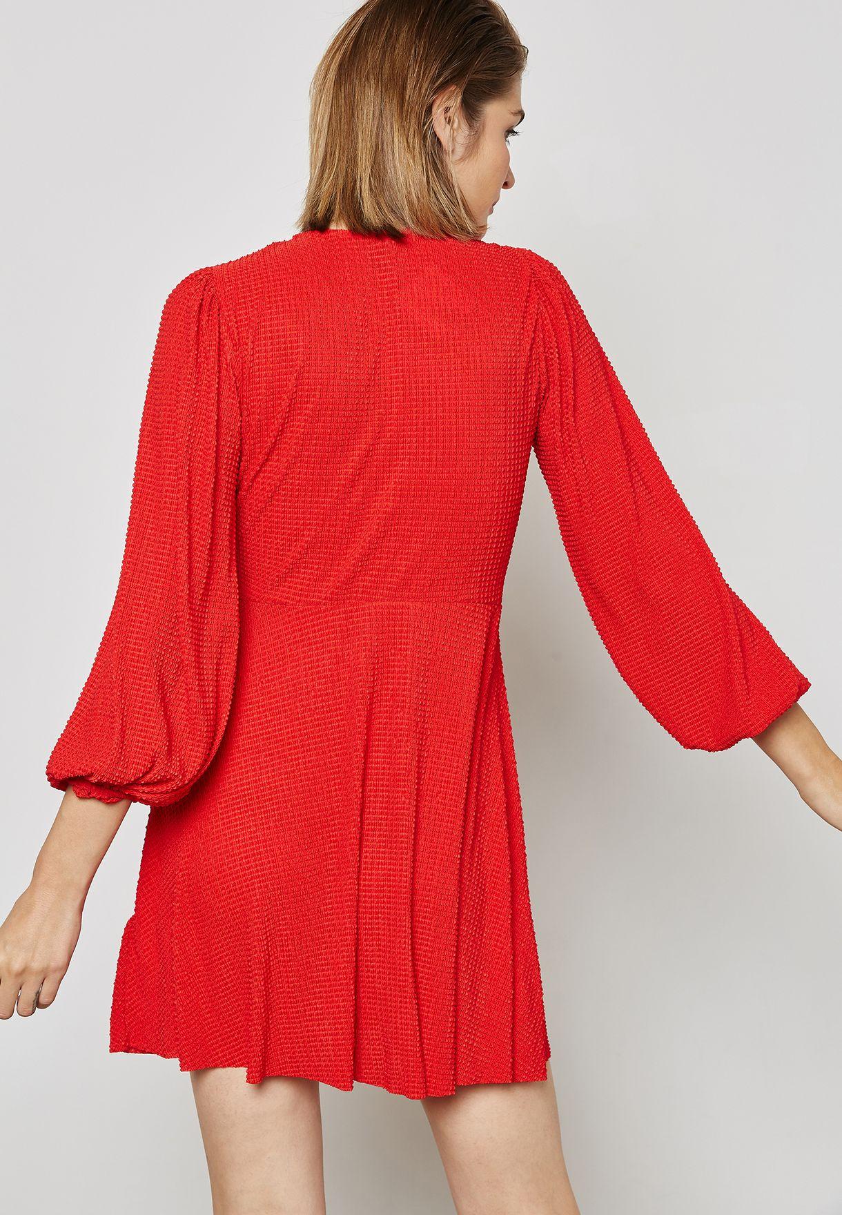 01226aa3997 Shop Topshop red Plisse Wrap Dress 35J06MRED for Women in Kuwait ...