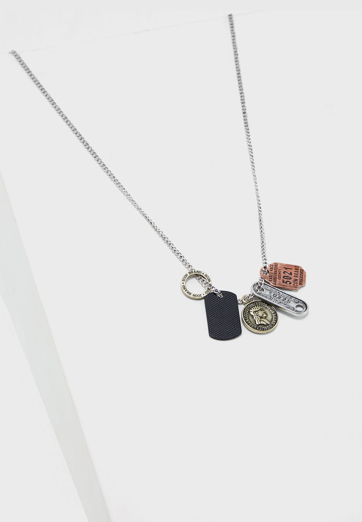 9f614d7fc30 Shop Icon silver Multiple Dog Tag Pendant Necklace P259-N for Men in ...