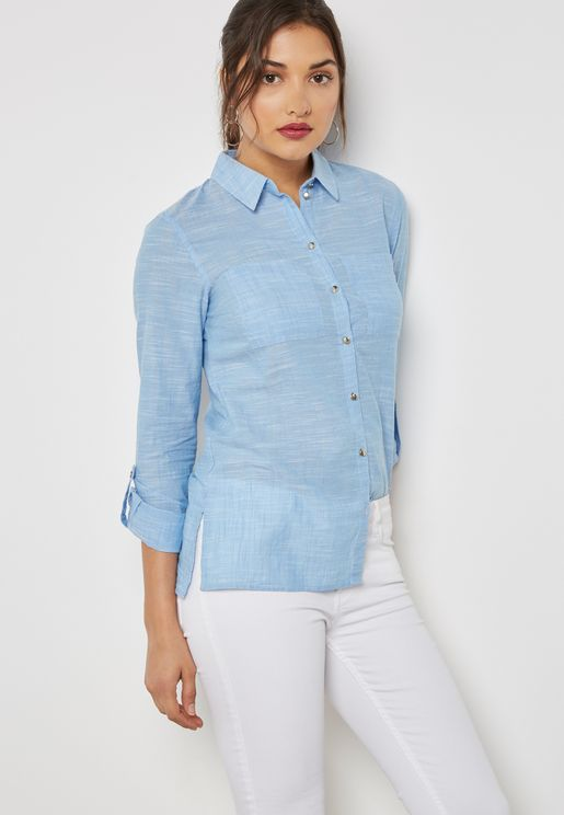 Contrast Metallic Button Detail Shirt