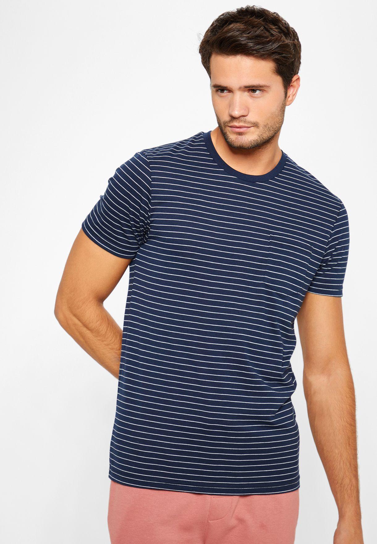 Fine Stripe Crew Neck T-Shirt