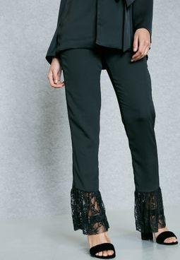 High Waist Lace Detail Pants
