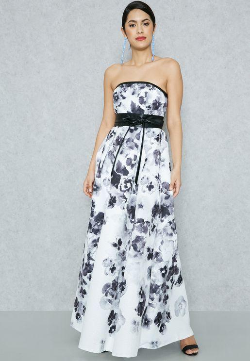 Floral Print Self Tie Bandeau Dress