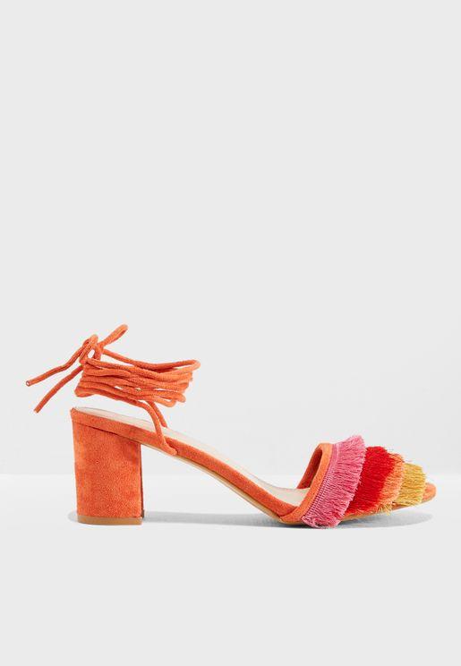 Beach Frill Toe Mid Heel Sandal
