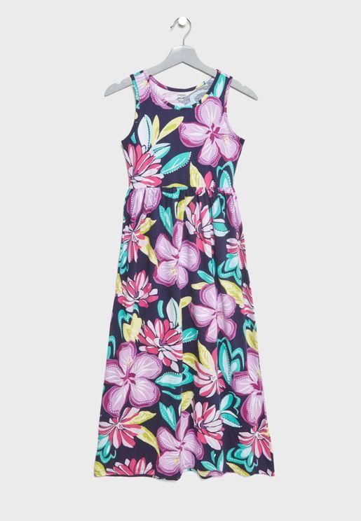 فستان مكسي بطبعات ورود