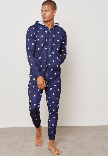 Star Printed Hoodied Onesie