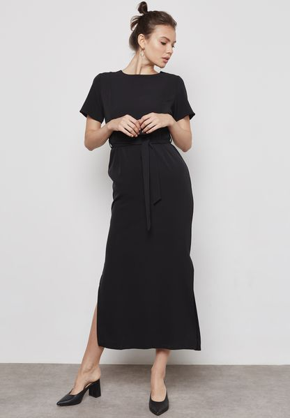Side Slit Tie Waist Dress