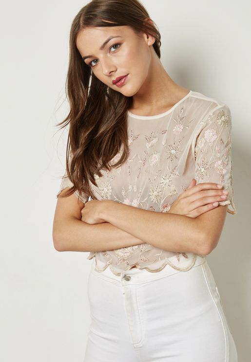 Lace Scallop Detail Top