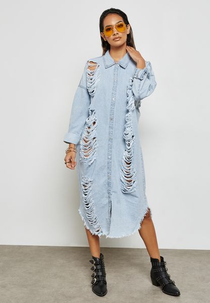 Ripped Denim Dress
