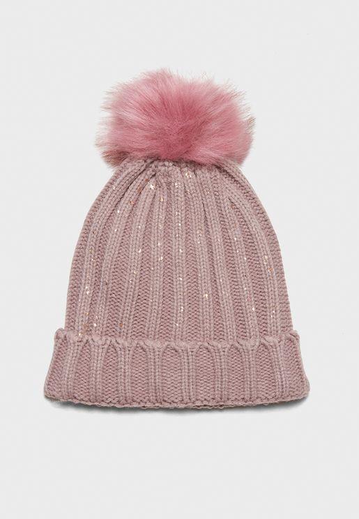 Knit Faux Fur Beanie
