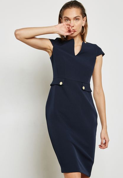 Side Tab Button Pencil Dress