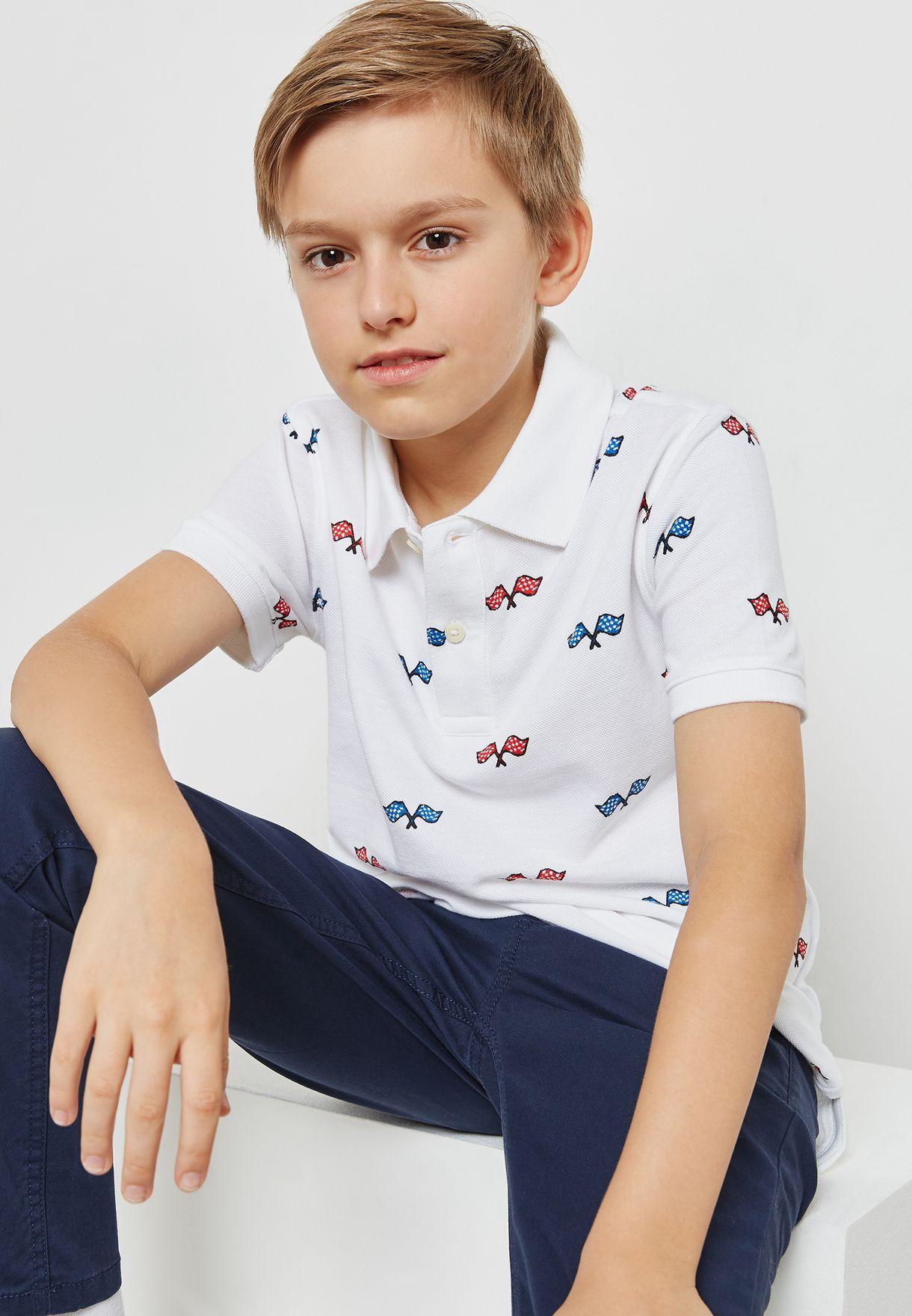 6cd5f20f Shop Tommy Hilfiger white Teen Flag Print Polo KB0KB03859 for Kids ...