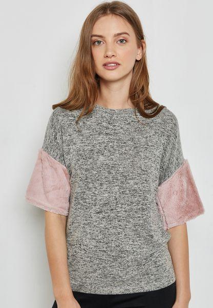 Fluffy Sleeve T-Shirt