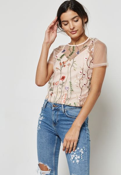 Sheer Embroidered Overlay Top