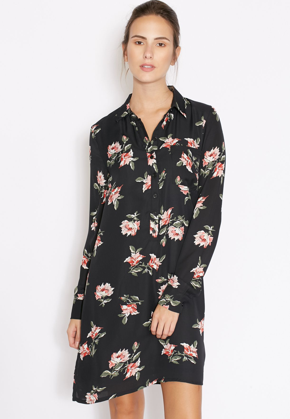 9f490d2ee47b Shop Fashion Union black Floral Shirt Dress TLV467 for Women in Kuwait -  FA710AT19SCA