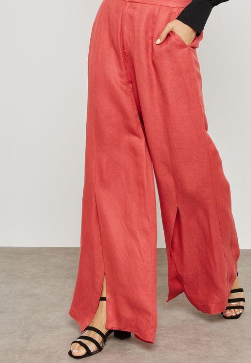 Wide Leg Split Pants