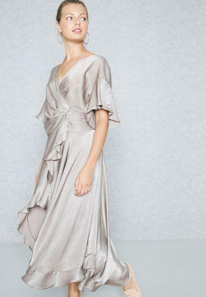 Wrap Front Ruffle Detail Self Tie Dress