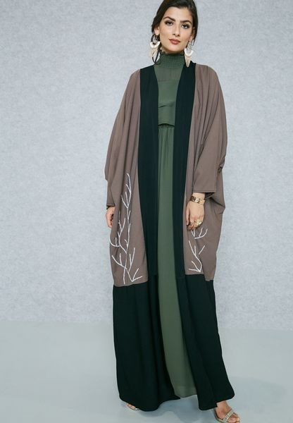 Colourblock Beaded Detail Abaya