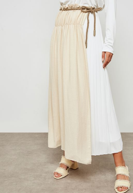 Pleated Self Tie Skirt