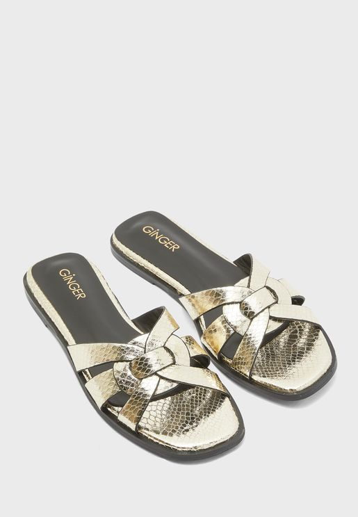 Criss Cross Sandals In Metallic