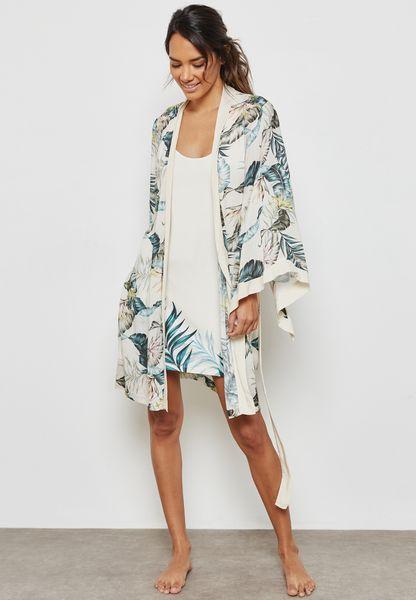 Printed Robe and Night Shirt Set