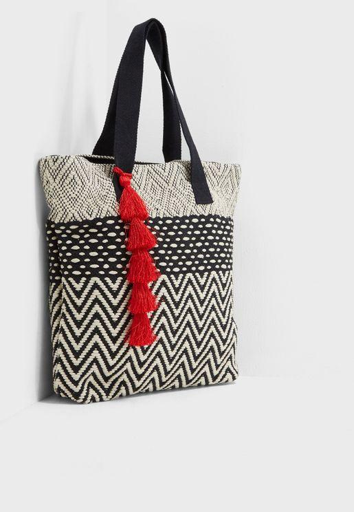 Monochrome Tassel Front Shopper