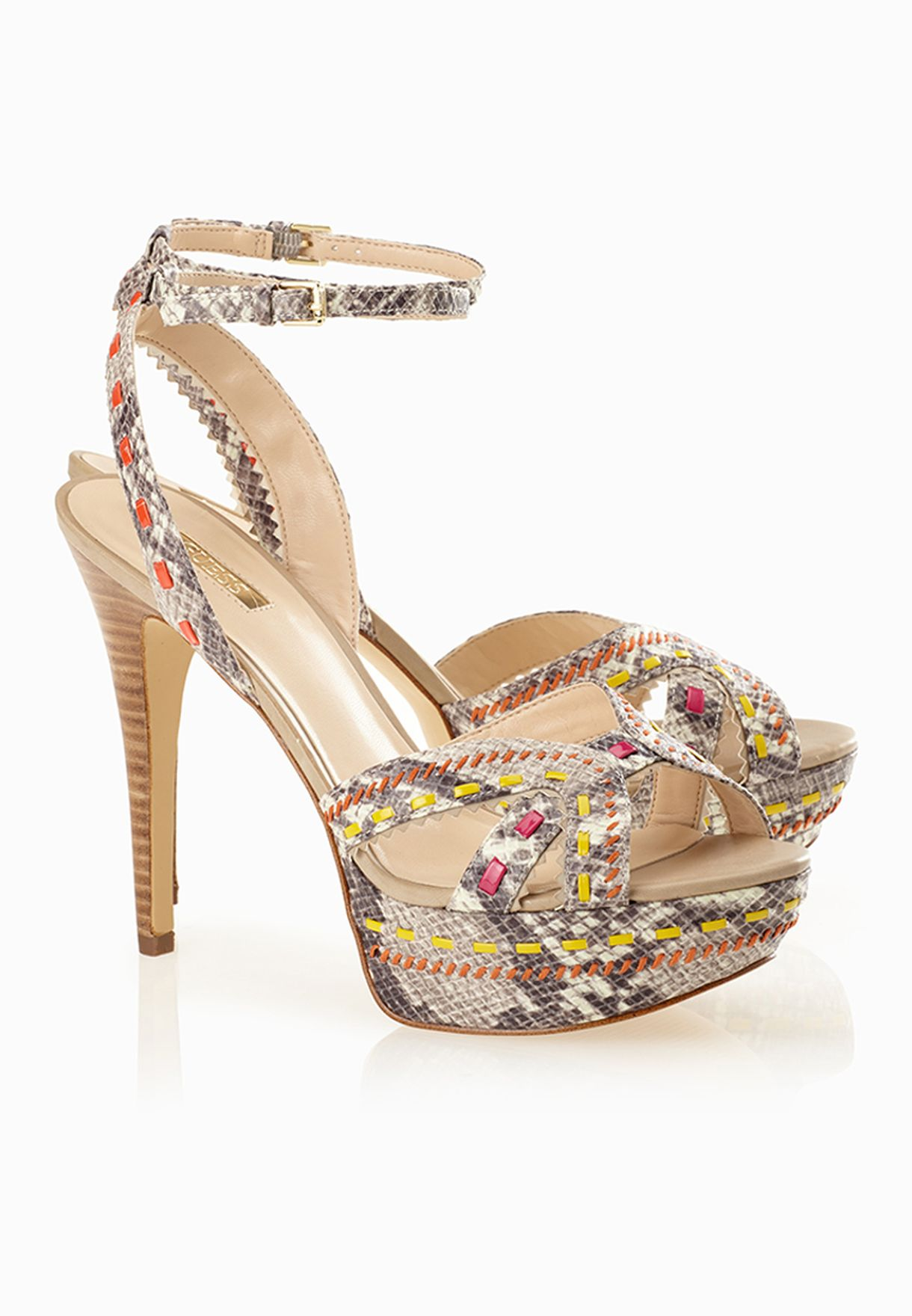 0c6785e49 Shop Guess animalprint Ankle Strap Jeweled Sandals gwODONNA2-B for ...