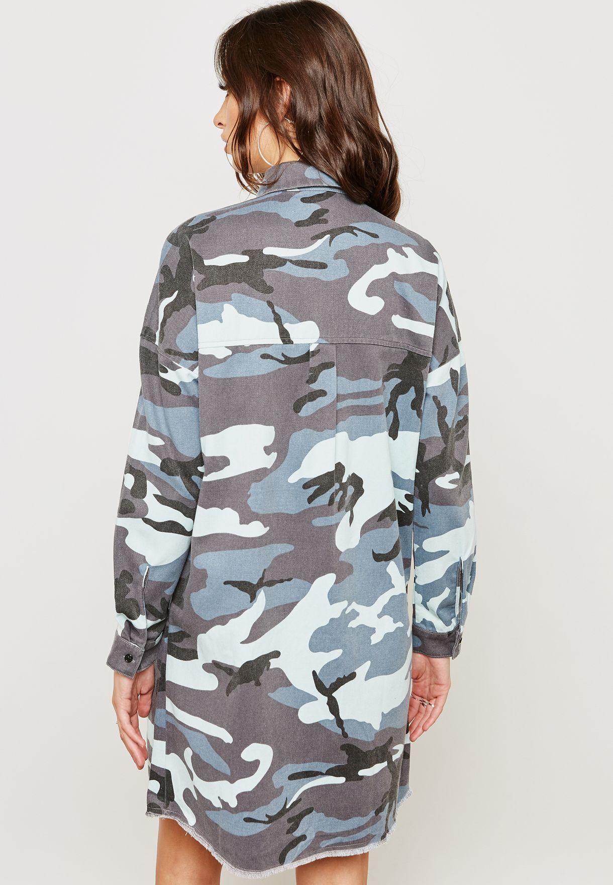 Camo Shirt Dress with Striped Sleeve Detail