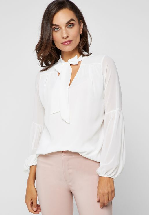 Tie Neck Pearl Detail Top