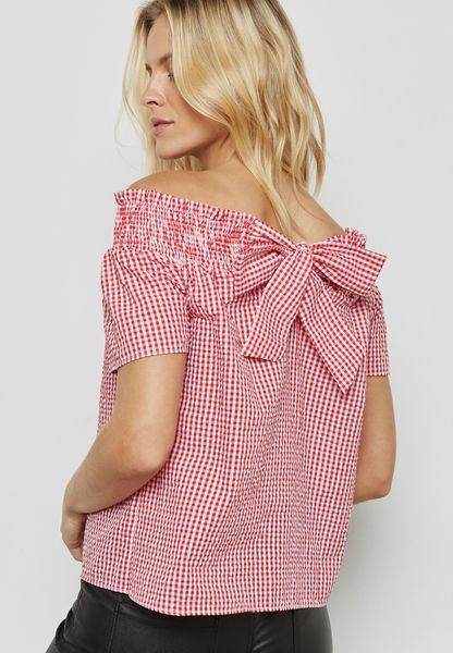 Gingham Bardot Top
