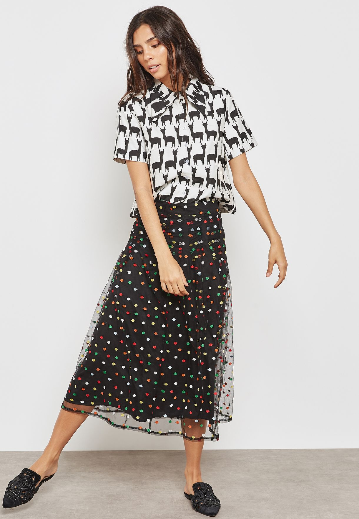 Printed Sheer Skirt