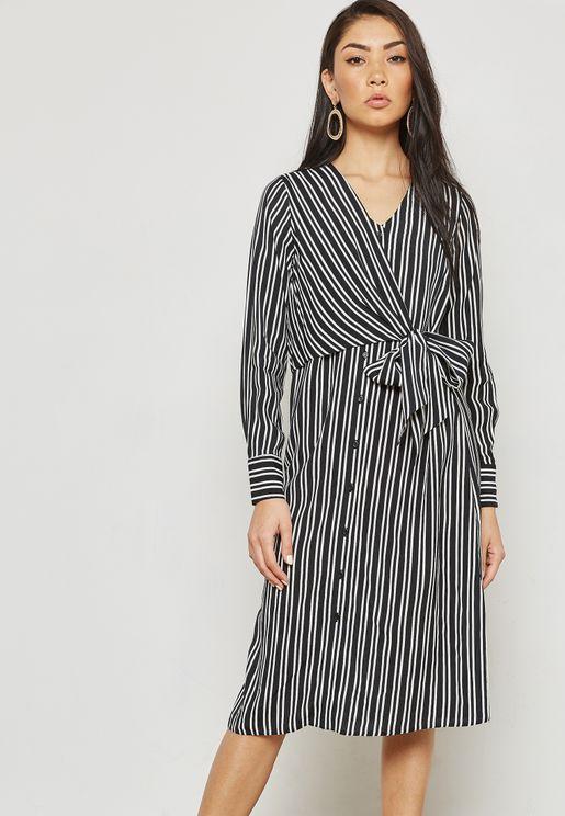 Stripe Tie Front Shirt Dress