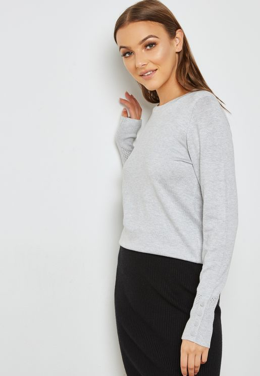 Eyelet Detail Sweater