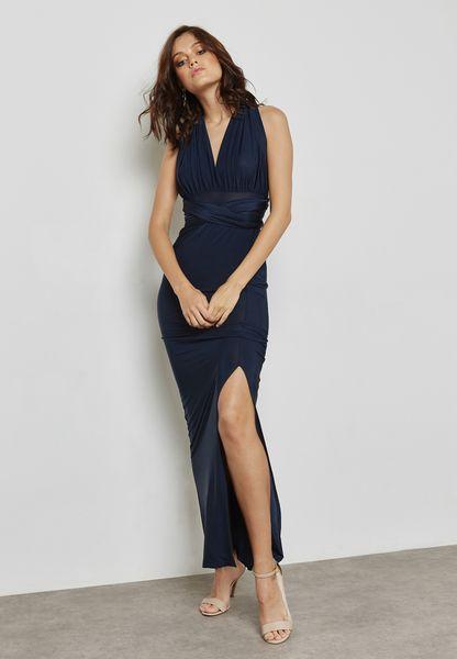 Side Split One Shoulder Maxi Dress