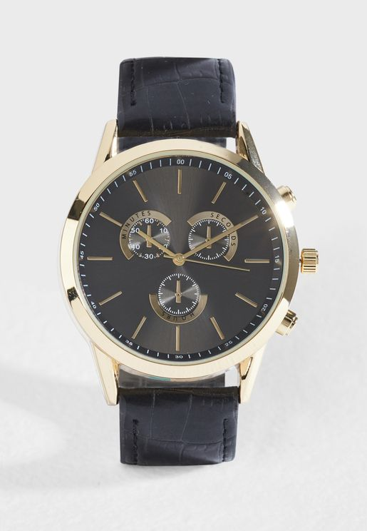 Croc Embossed Analogue Watch