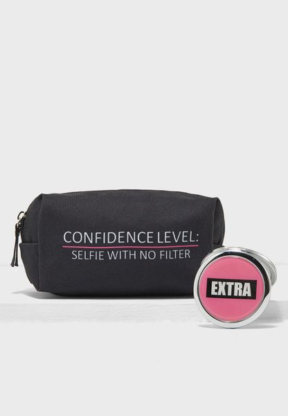 Cosmetic Bag and Compact Mirror Set