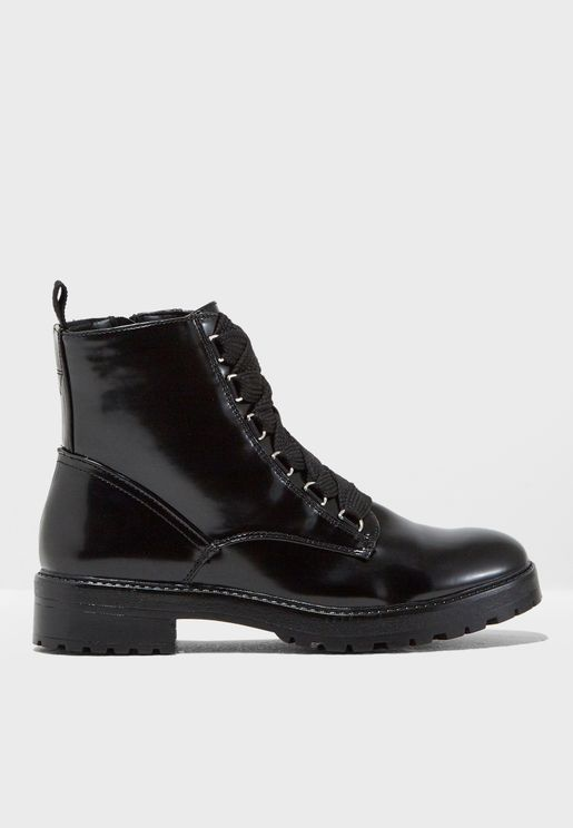 Bad Patent Lace Up Boot