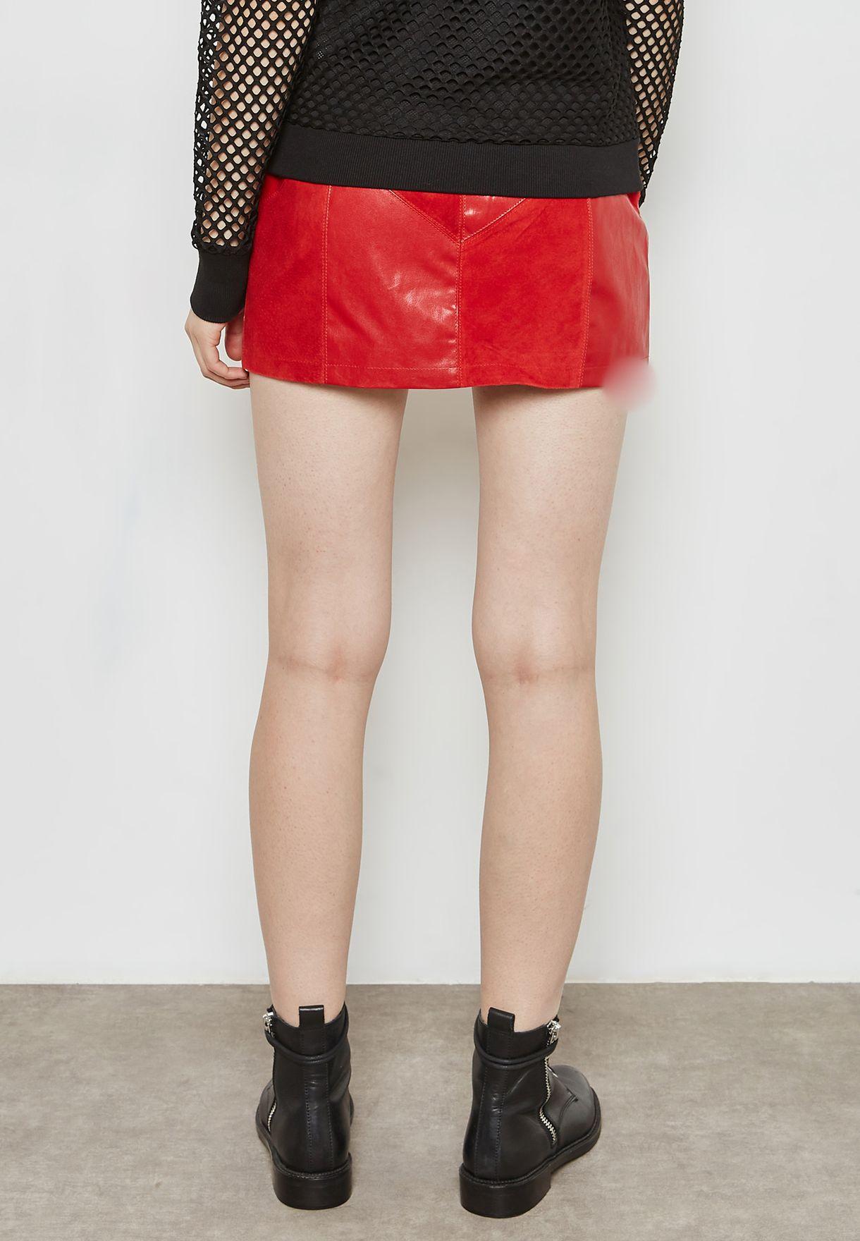 Button Detail PU Skirt