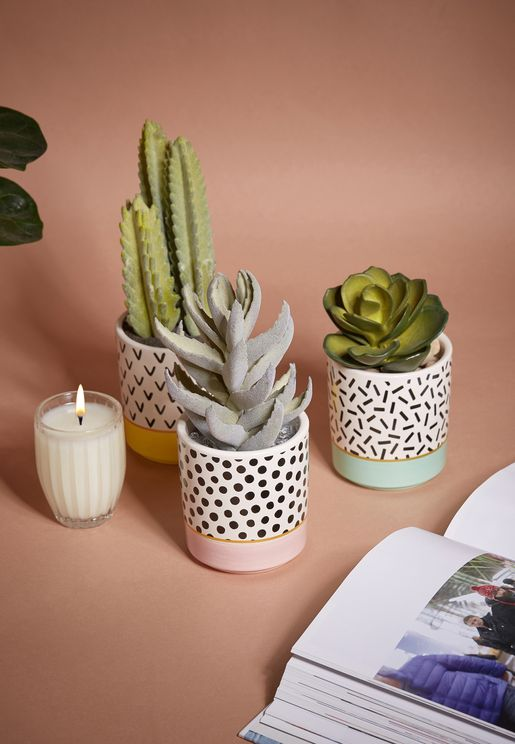 Mini Memphis Set Of 3 Planters