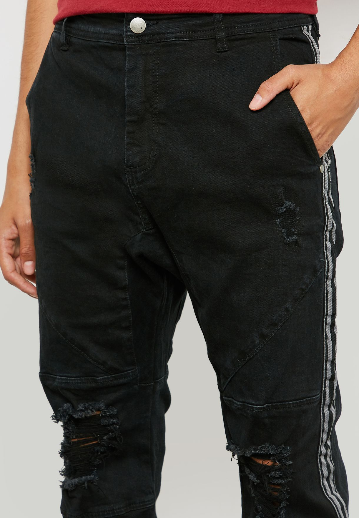 Side Stripe Denim Joggers