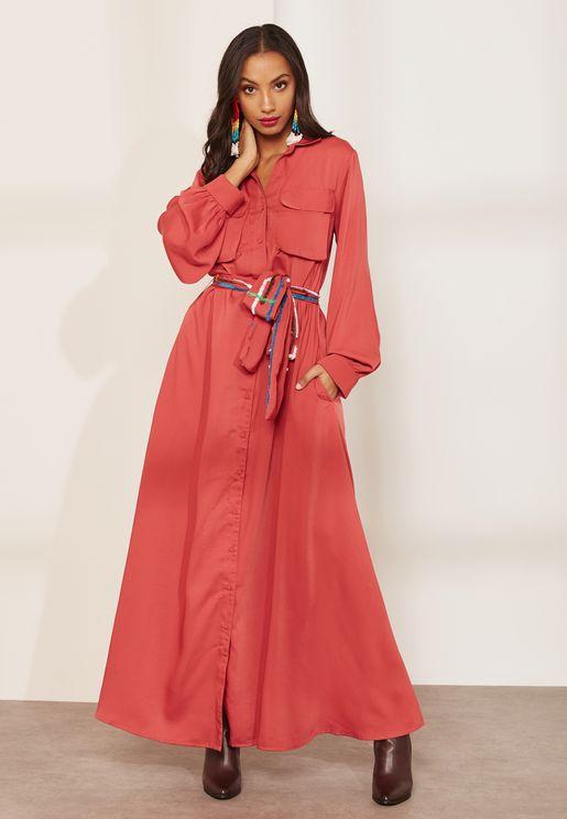 Emma Pocket Detail Maxi Shirt Dress
