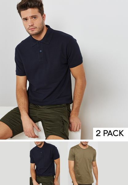 Essential Crew Neck T-Shirt And Polo Set
