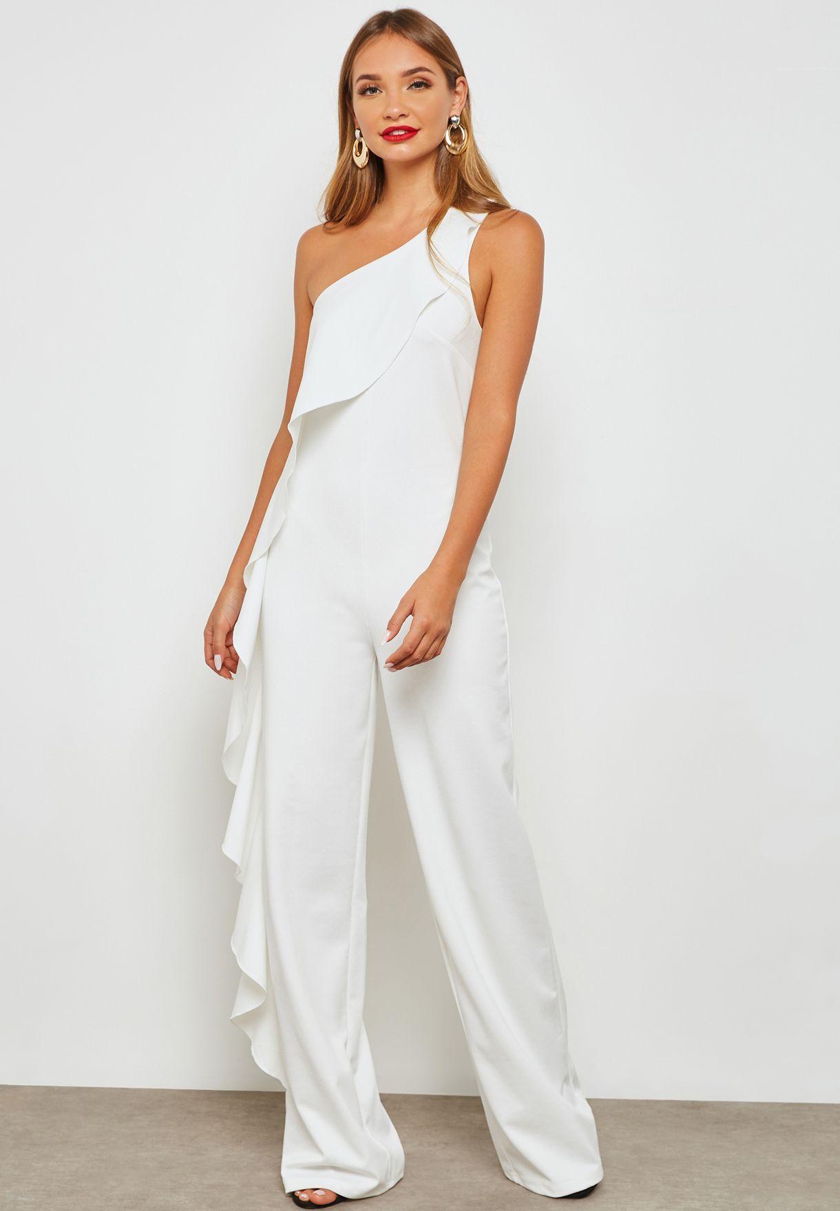 3bac9c85ef28 Shop Mango white One Shoulder Jumpsuit 33013794 for Women in UAE ...