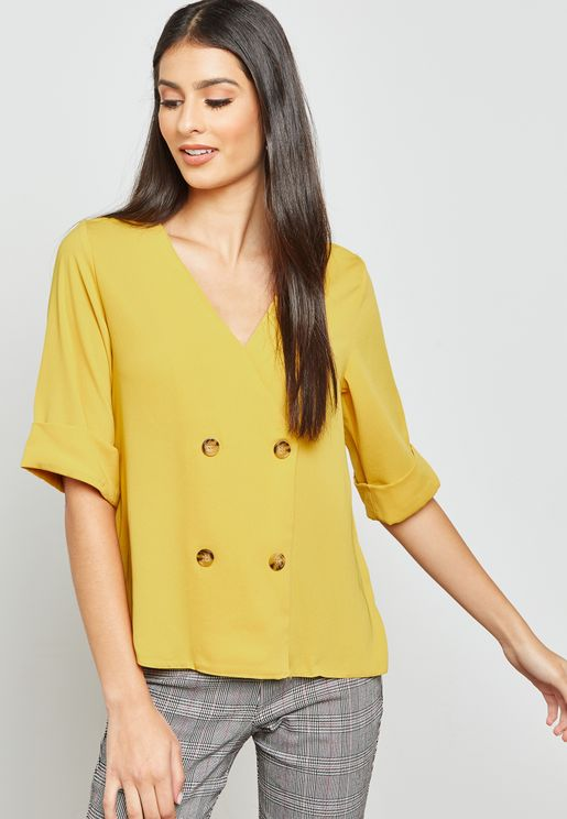 Double Breasted Button Wrap Top