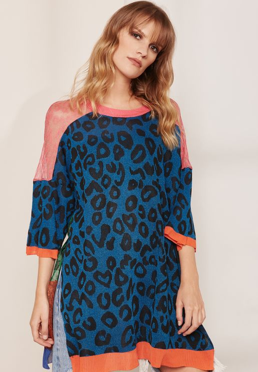 Contrast Print Knitted T-Shirt Dress