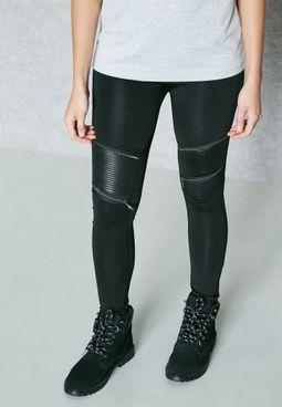 PU Paneled Leggings