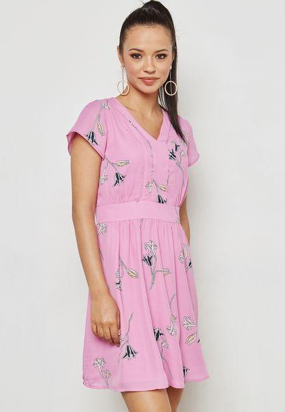 Frill Detail Tie Waist Dress