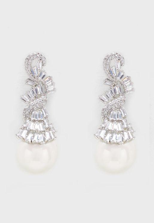 Elegant Pearl Linear Earrings